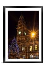 Sheffield Town Hall at Christmas , Framed Mounted Print