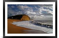 Stormy day at West Bay, Framed Mounted Print