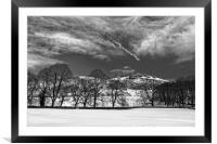 Bamford Edge in Winter, Mono Version, Framed Mounted Print