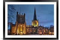 Sheffield Cathedral at Night, Framed Mounted Print