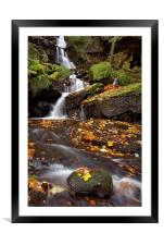 Lumsdale Falls in Autumn, Framed Mounted Print