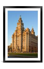 Royal Liver Building at Sunset                    , Framed Mounted Print