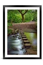 Porter Brook Stepping Stones & Falls              , Framed Mounted Print