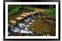 Endcliffe Park Stepping Stones and Falls          , Framed Mounted Print