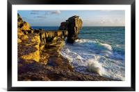 Pulpit Rock and stormy seas                       , Framed Mounted Print