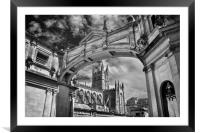 Bath Abbey and Arch in Mono                      , Framed Mounted Print