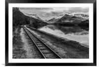 Llyn Padarn and Llanberis railway , Framed Mounted Print