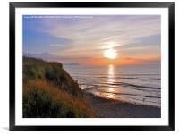 SUNSET AT KILVE BEACH SOMERSET, Framed Mounted Print
