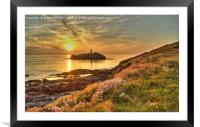 Godrevy Lighthouse Cornwall Sunset, Framed Mounted Print