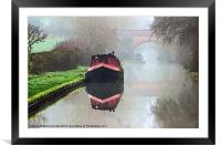 Foggy day on the Canal., Framed Mounted Print