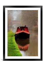 Narrowboat on the Canal, Framed Mounted Print