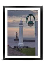 Seaburn and Roker Lighthouse., Framed Mounted Print