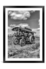 "Showmans Engine ""Lord Nelson"" Black and White, Framed Mounted Print"