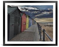 Mundesley Beach Huts, Framed Mounted Print