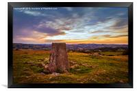 triangulation station watching the sun going down, Framed Print