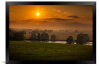 Beautiful sunset over field and forest. Czech Repu, Framed Print