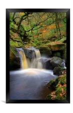 Cascading Waterfalls in Padley Gorge , Framed Print