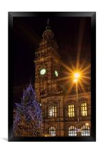 Sheffield Town Hall at Christmas , Framed Print
