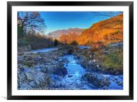 Ashness Bridge looking to Derwentwater, Framed Mounted Print