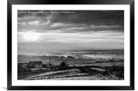 Misty morning sunrise above Norden Village, Framed Mounted Print