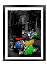 Colored Scooters, Framed Mounted Print