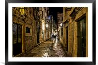 Dubrovnic at night, Framed Mounted Print