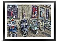 Mod scooters and 60s fashion, Framed Mounted Print