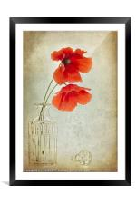 Two Poppies in a Glass Vase, Framed Mounted Print