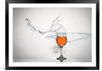 Liquid Splash & Wine Glass, Framed Mounted Print