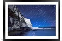 White Cliffs of Dover on a Starry Night, Framed Mounted Print