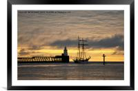 The Flying Dutchman leaving port, Framed Mounted Print