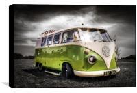 Green split screen VW camper van