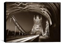 Tower Bridge London at Night, Sepia Toned