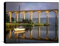 Calstock Viaduct and River Tamar Reflections, Box Print