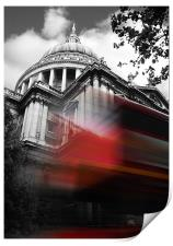 St Pauls Cathedral and a London Bus, Print