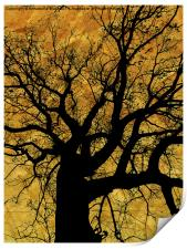 Oak tree in yellow., Print