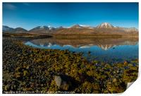 Snow capped Red Cuillin hills reflected., Print