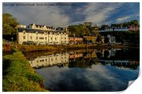 Beaumont Crescent reflected in Loch Portree., Print