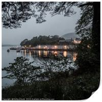 At 22:10hrs a drizzly evening across Loch Portree, Print