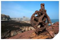 Winch at Seacliff harbour, Print