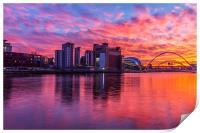 Awsome fiery sunset over Necastle Upon Tyne, Print