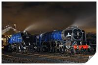 Majestic steam locomotives on shed at night, Print