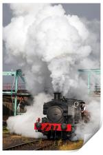 Industrial saddle tank storms forward. , Print