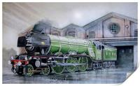 Water colour painting of the Flying Scotsman, Print