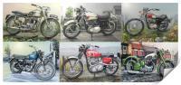 SIX CLASSIC BRITISH MOTORCYCLES, Print