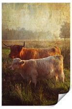 Highlanders. Scottish Countryside, Print