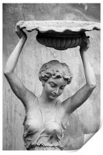 woman stuatue, China, Print