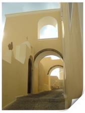 Santorini, Greece, Arches and Cobblestones, Print