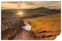 Setting sun in the Yorkshire Dales, Print