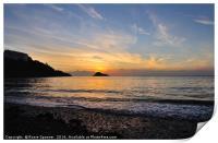 Sunset at Thatcher Rock on Meadfoot Beach Torquay, Print